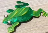 Lea Stein Frog Brooch - Designer Frog Pin - bright green colours (SOLD)